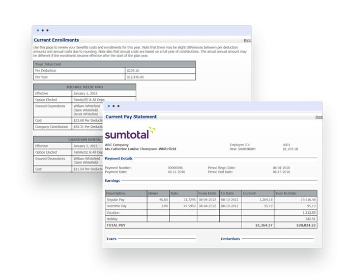 SumTotal's configurable tools process error-free and timely pay and benefits every single time. Designed by payroll professionals, for payroll professionals.