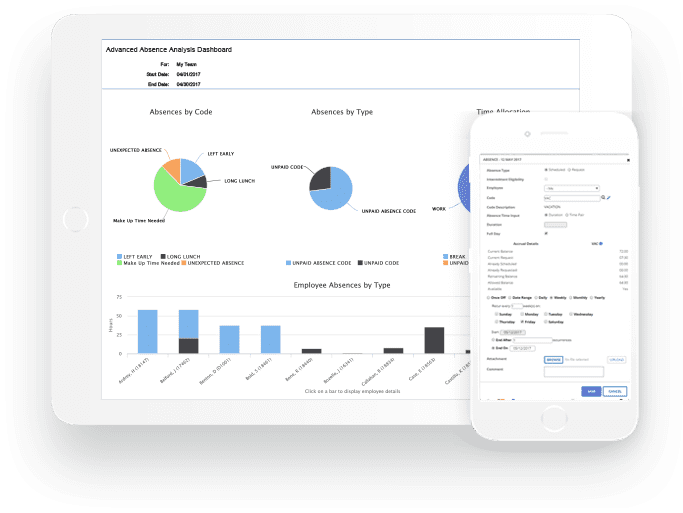 Absence Management - Track and record any and all time away from work. Organization-wide, salary or hourly, one solution handles it all from sick and vacation days to extended time away.